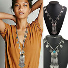 New Women Carved Coin Tassels Pendant Chain Necklace Choker Chunky Jewelry