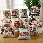 "Cotton Linen Owl Throw Pillow Case Cushion Cover for Couch Houseware 18"" x 18"""