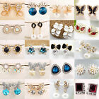 Fashion Women Lady Girls Elegant Flower Crystal Rhinestone Ear Stud Earrings New