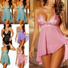 Women Lingerie Lace Robe Babydoll Dress Sleepwear + G-string Underwear Nightwear
