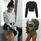 Women New Crop Top Sweatshirt Jumper Sweater Print Coat Sports Pullover K0E1