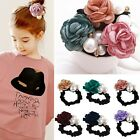 Women's Satin Ribbon Flower Pearls Hairband Rope Scrunchie Ponytail Hair Band