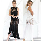 New Sexy Women Sheer Lace Crochet Party Club Wedding Formal Fishtail Long Dress