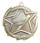 VALUE BASEBALL SOFTBALL MEDALS GOLD SILVER BRONZE W/ NECK RIBBON STAR SERIES