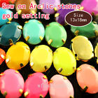 30 13x18mm oval Faceted Acrylic Sew On button crystal Rhinestone gold plate Gems