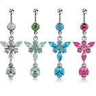 Sexy Womens Crystal Butterfly Dangle Navel Belly Bar Button Ring Body Piercing