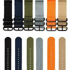 20/22mm Military Nylon Wrist Watch Band Strap Stainless Steel Buckle 3Rings