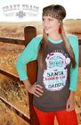Crazy Train Women's Santa Christmas 3/4 Sleeve Baseball Tee