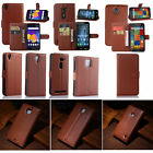 Brown Flip PU Leather Card Slot Case Stand Cover Wallet For Samsung / Sony /Wiko