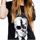 2016 Letter LAGERFELD Printed T-shirts Women Skull Ghost Pattern O neck T Shirt