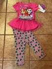 NWT 2 Pc Outfit Paw Patrol Pink Leggings Tunic Glittery Skye Marshall 2T 3T 4T 4