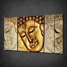 WOODEN GOLD FACE BUDDHA RELIGION CANVAS WALL ART PRINT PICTURE READY TO HANG