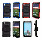 For Alcatel Idol 4 / Nitro 49 Holster Case w/ Tempered Glass Screen Protector
