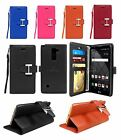 For LG G Stylo 2 / LS775 / Stylus 2 Leather Wallet Case w/ Tempered Glass Screen