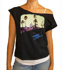 "Eagles ""Hotel California"" women's cropped  raw edge off-shoulder top"