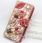 Magnetic Bling pearls sexy lip bag PU leather flip stand slots red case cover #A