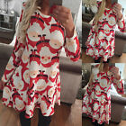 New Women Long Sleeve Santa Print Bodycon Christmas Xmas Party Swing Dress
