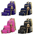 3 x Fashion Women Girls Travel Canvas Rucksack Backpack Tote School Shoulder Bag