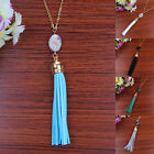 New Necklace Long Chain Pendant Jewelry Velvet Leather Tassel Oval Nature Stone