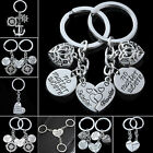 Silver Heart Pendant Keyring Mother Daughter Sisters Friendship Keyfob Key Chain