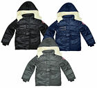 Boys Padded 88 Motif Zip Fleece Lined Hood Hooded Anorak Coat 3 to 13 Years (T1)