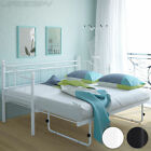 Metal Day Bed Bedside Frame Guest Bed Daybed Slat Base Castor Wheels Furniture