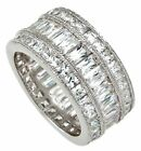 Antique Pave 3 Row ETERNITY Ring Wedding Band Genuine 925 Sterling Silver