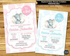 ELEPHANT BABY SHOWER PERSONALISED INVITATION INVITE CARD GIRL BOY PASTEL BLUE