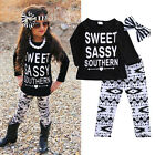 USA Newborn Toddler Kids Baby Boys Girls Outfits Clothes T-shirt Tops+Pants Set