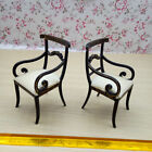 2pcs double  1:12 Fine Dollhouse Miniature Wooden Chairs black with golden