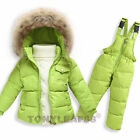 Baby Toddler Boys Girls Duck Down Outwear Jacket  Ski Bib Pants Salopette Suit