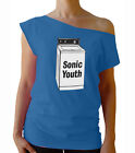 "Sonic Youth ""Washing Machin"" women's raw edge off-shoulder top"