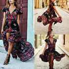 Women Summer Vintage Boho Long Maxi Party Beach Maxi Dress Floral Sundress Black
