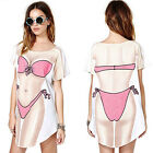 Sexy Lady Funny Bikini Printed Crew Neck Short Sleeve Tops Tee T Shirt Dress