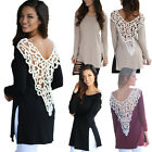 Sexy Women Back Hollow Lace T-shirt Stylish Ladies Long Sleeve Round Neck Tops