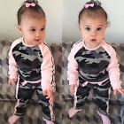 Toddler Baby Kid Girl Clothes Tops T-shirt Pants Camouflage Clothes 2pcs Outfits