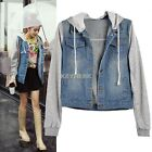 New Women's Hoodie Hooded Denim Jean Casual Outdoor Winter Coat Jacket Outerwear