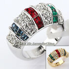A1-R120 Fashion CZ Multicolor Band Ring 18KGP Crystal Size 5.5-10