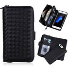 New Luxury Weave Zipper Wallet Leather Magnetic Case Cover For iPhone X 7/8 Plus
