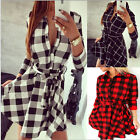Fashion Women Ladies Dresses Plaid Check Print Casual Shirt Dress 3/4 Sleeve New
