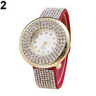 Luxury Rhinestone Faux Leather Round Quartz Women's Bracelet Wrist Watch Cheaply