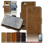 iPhone Leather Case Wallet Cover for iPhone 5 5s 5c 6 6s 6s Plus Free Protector