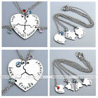 3/4pcs 20.5'' Heart Puzzle Alloy Dangle Rhinestone Pendant Necklace Friend Gift