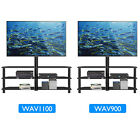 "Black Glass TV Stand Cantilever w/ Swivel Wall Bracket for 32-55"" Plasma LCD LED"