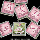 A Handcrafted Pink Roses Boho Initial Letters Necklace Silver Charm Pendant