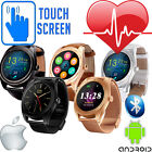 HEART RATE Activity Tracker Leather Metal Bluetooth Android iPhone Smart Watch