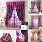 Voile Window Curtains Flower Pattern Sheer Panel Drape Curtains with Grommet WL