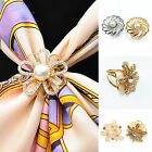 Women's Lady Scarf Ring Clip Buckle Scarves Crystal Pearl Flower Buckle Holder