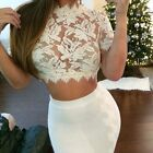 Sexy Women See Through Lace Crop Top White Casual Ladies Blouse