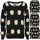 New Women's Daisy Sunflower Baggy Oversized Knitted Warm Pullover Jumper Sweater
